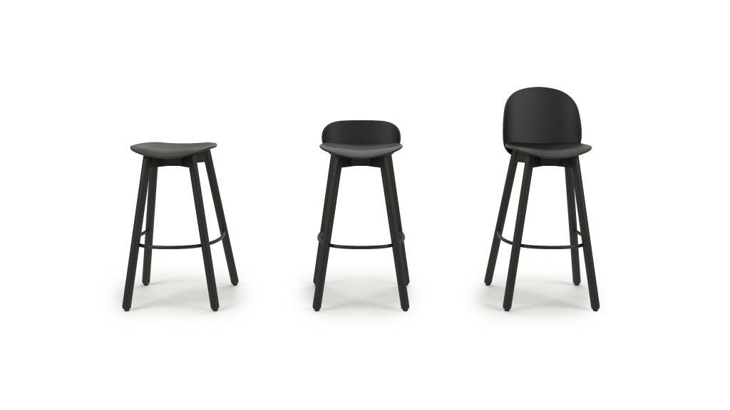 Beech bar stool 75_Studio_Mat zwart_Front_001A_V02